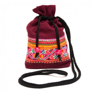 ThongPua モン族刺繍古布の巾着マグポーチ