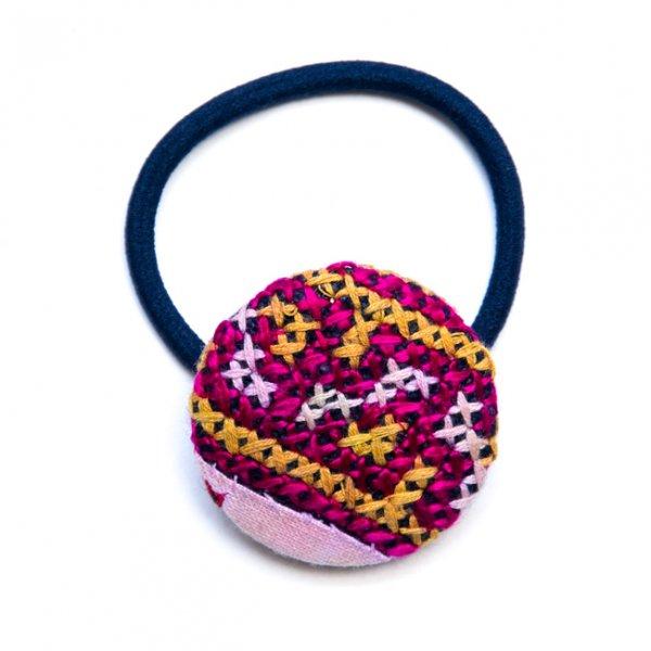 ThongPua モン族ヴィンテージ刺繍の大きめヘアゴム Type.1