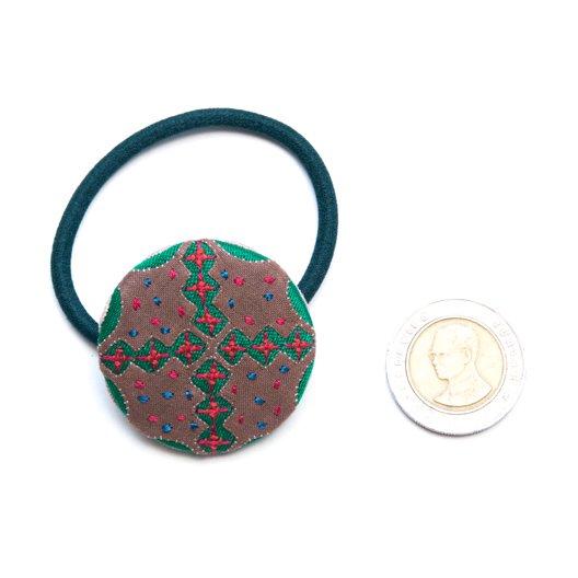 画像3:ThongPua モン族ヴィンテージ刺繍の大きめヘアゴム Type.2
