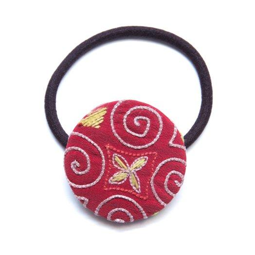 ThongPua モン族ヴィンテージ刺繍の大きめヘアゴム Type.3