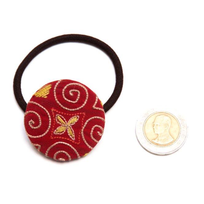 画像3:ThongPua モン族ヴィンテージ刺繍の大きめヘアゴム Type.3