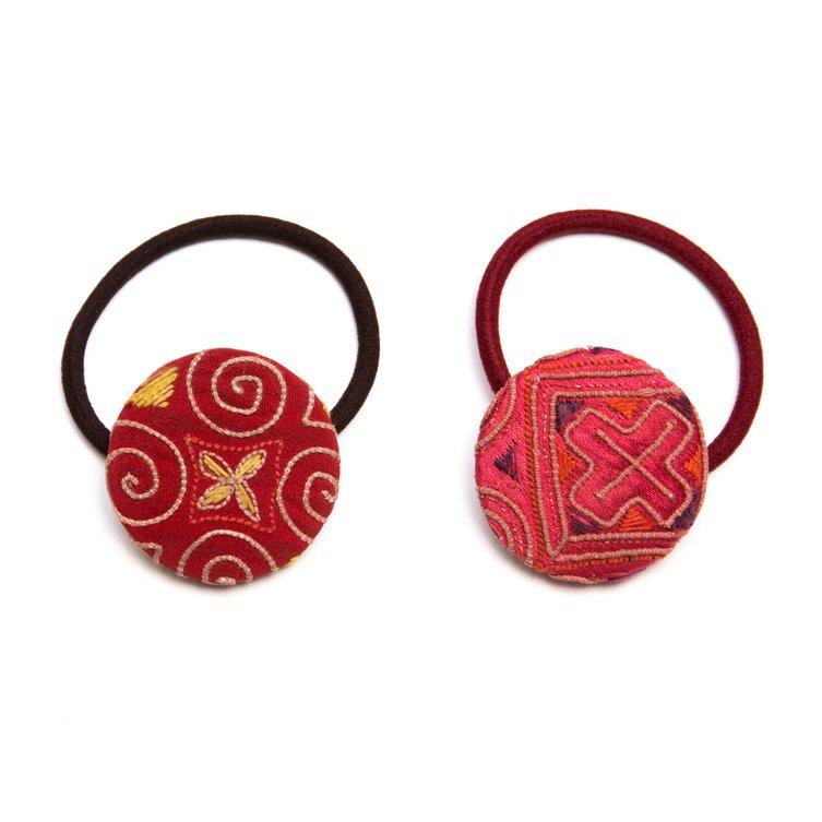 画像4:ThongPua モン族ヴィンテージ刺繍の大きめヘアゴム Type.3
