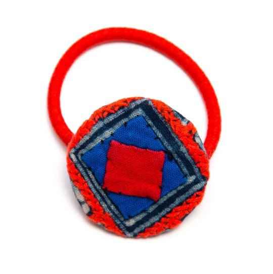 ThongPua モン族ヴィンテージ刺繍の大きめヘアゴム Type.4