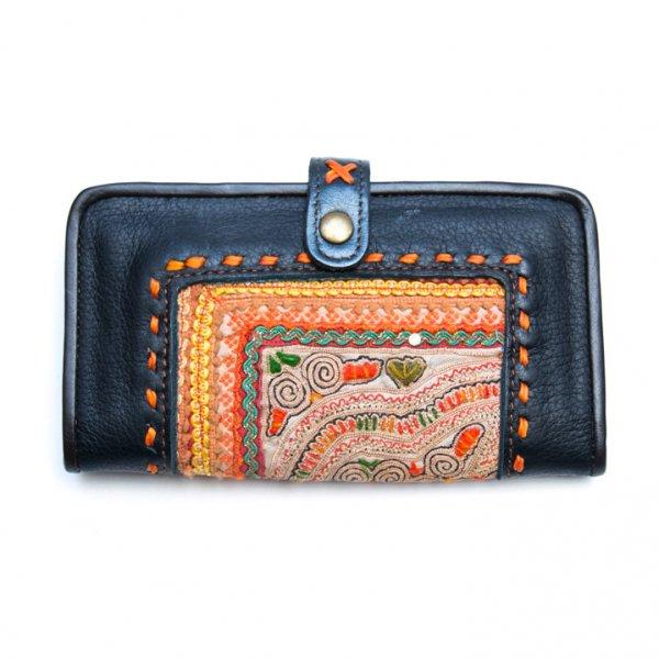 Rangmai 中国モン族(苗族)刺繍古布のレザーカードケース