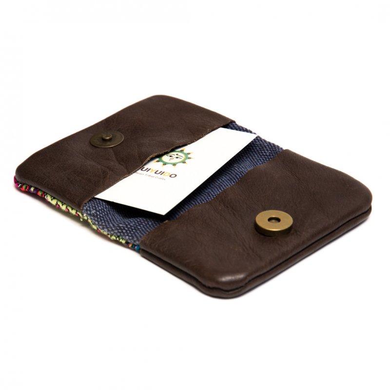 画像3:カレン族刺繍古布のハンドメイド・レザーカードケース Type.3