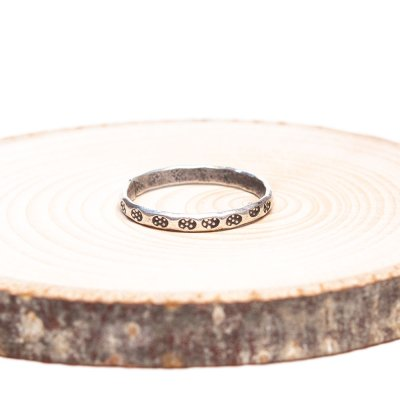 【カレン族シルバー リング】パドゥアが刻印されたシンプルで細いハンドメイドリング