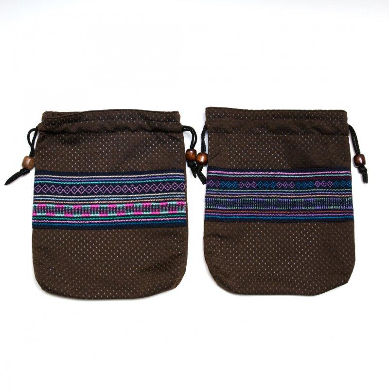 A Bu-Ali(アブアリ)アカ族刺繍巾着マグポーチ