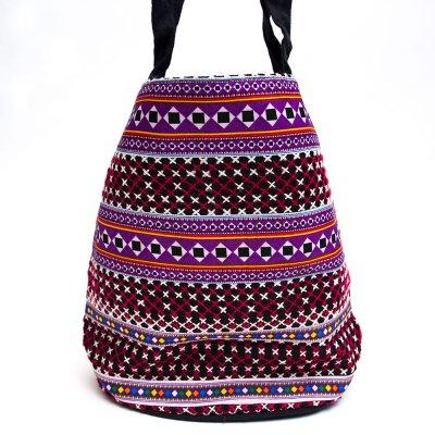 モン族 民族刺繍古布を使用したハンドバッグ(パープルxブラック)