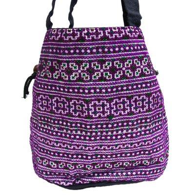 モン族 民族刺繍古布を使用したハンドバッグ(パープル)