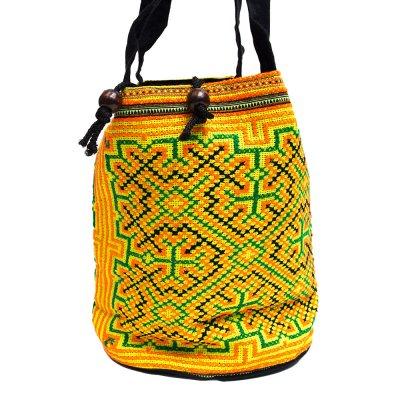 モン族 民族刺繍古布を使用したハンドバッグ(S)