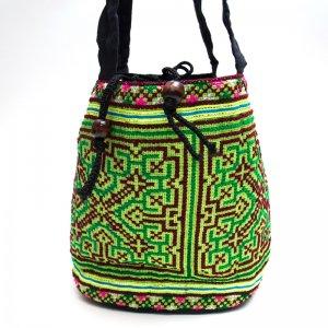 モン族 民族刺繍古布を使用した手提げバッグ(グリーン)