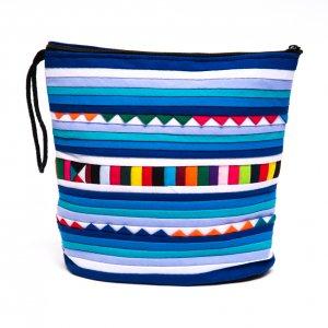 リス族刺繍のマチ付きカラフルポーチ S-size(ブルー)Type.2