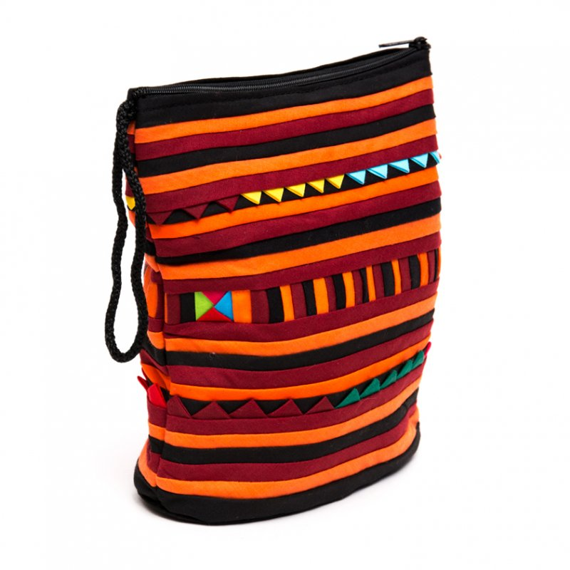 リス族刺繍のマチ付きカラフルポーチ S-size(ハロウィン)