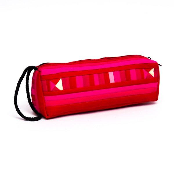 リス族 民族刺繍のカラフルペンケース(ピンク)