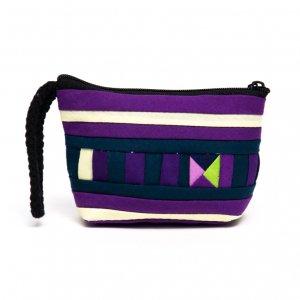 リス族刺繍のカラフルコインケース(パープル/ホワイト)