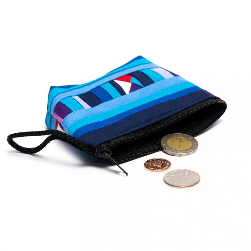 リス族刺繍のカラフルコインケース(ブルー)