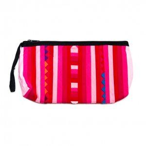 リス族刺繍のカラフルコスメポーチ(ピンク)