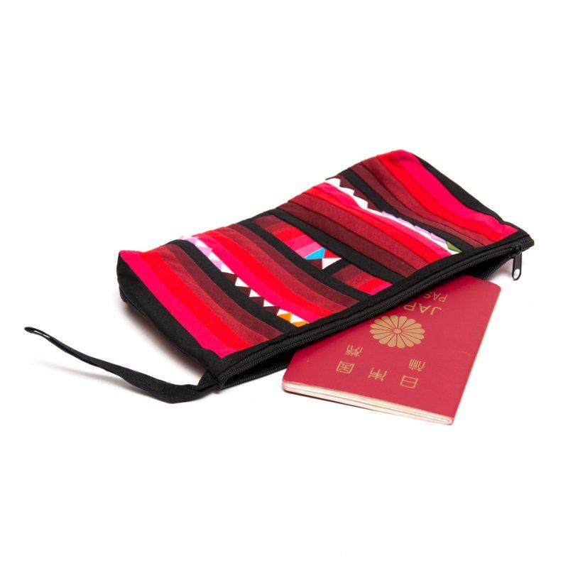 リス族刺繍のカラフルコスメポーチ(レッド)