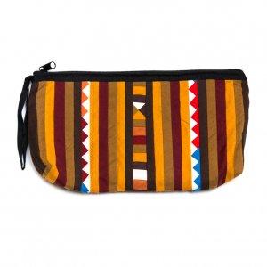 リス族刺繍のカラフルコスメポーチ(ブラウン)