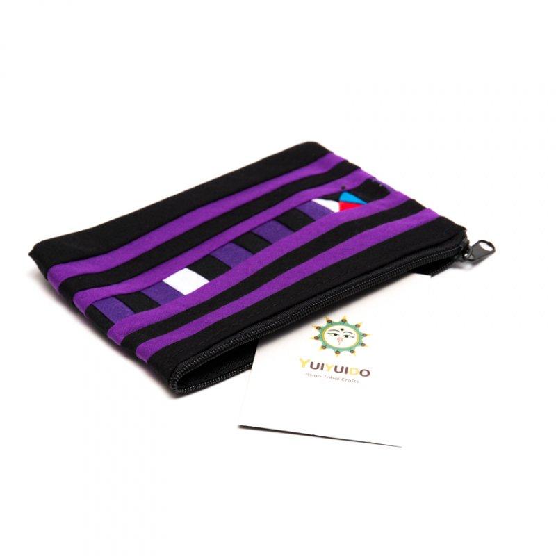 リス族刺繍のカラフルカードケース(パープル)