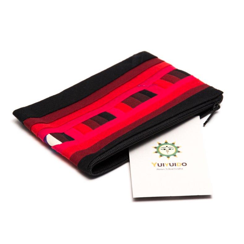 リス族刺繍のカラフルカードケース(レッド)