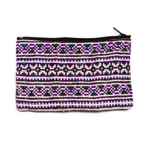 モン族 民族刺繍のかわいい小物ポーチ(パープルxホワイト)