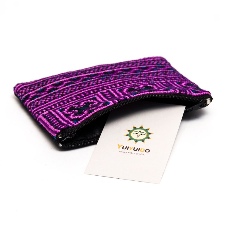 モン族 民族刺繍のかわいい小物ポーチ(パープル)
