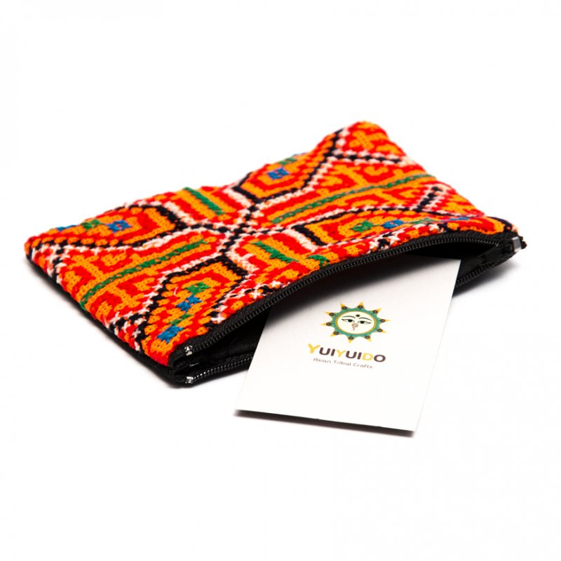 画像2:モン族 民族刺繍のかわいい小物ポーチ(オレンジ)