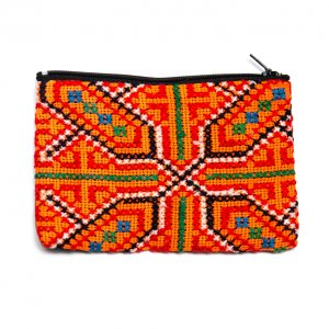 モン族 民族刺繍のかわいい小物ポーチ(オレンジ)