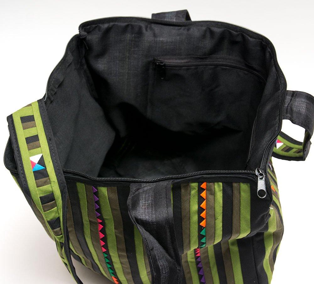 リス族刺繍 カラフルな大判トートバッグ(グリーン)