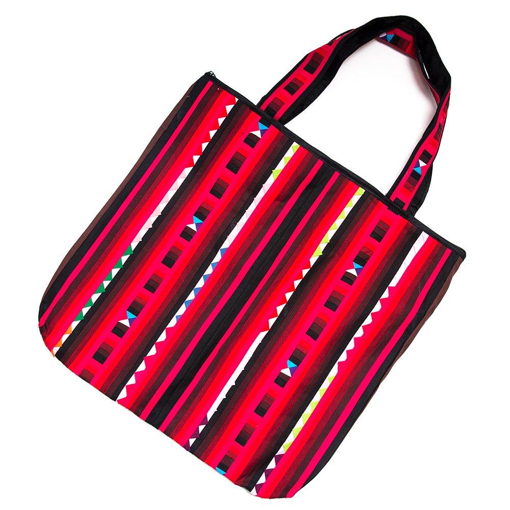 リス族刺繍 カラフルな大判トートバッグ(レッド)