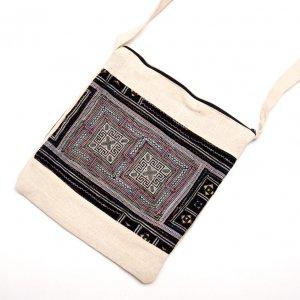 ベトナム 黒モン族手刺繍 二つ折りショルダーバッグ(M)