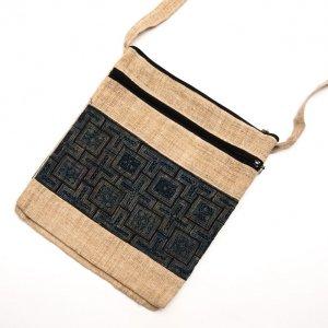 ベトナム 黒モン族バティック 二つ折りヘンプショルダーバッグ(L)