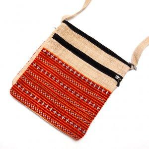 ベトナム モン族刺繍 二つ折りヘンプショルダーバッグ(M)