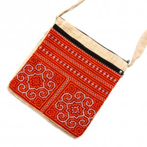 ベトナム モン族刺繍 二つ折りヘンプショルダーバッグ(L)