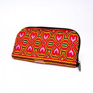 ベトナム モン族カラフル刺繍 長サイフ(A)