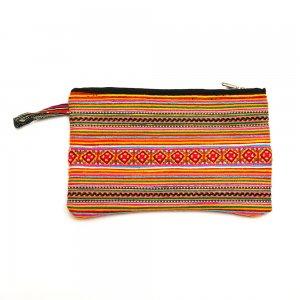 ベトナム 花モン族カラフル刺繍 長方形ポーチ Lサイズ(C)
