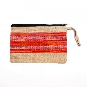 ベトナム 花モン族 ヘンプ&手刺繍 お着替えポーチ(A)