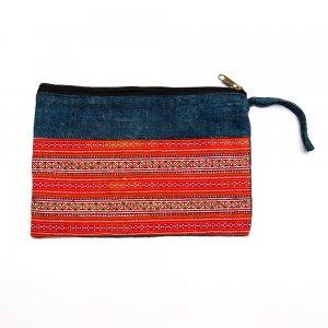 ベトナム 花モン族 インディゴ染め手刺繍 お着替えポーチ(A)