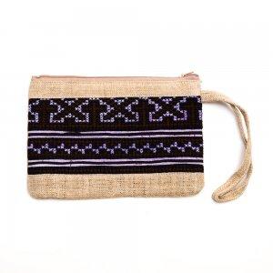 ベトナム 黒モン族 手刺繍 長方形ポーチ(B)