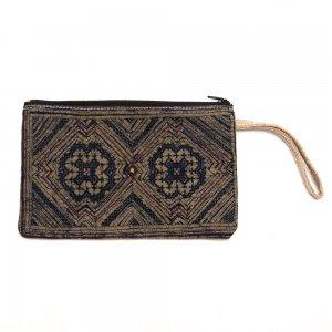 ベトナム 黒モン族 バティック&手刺繍 長方形ポーチ(B)