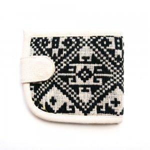 ベトナム ターイ族 手織り布 二つ折り財布(A)