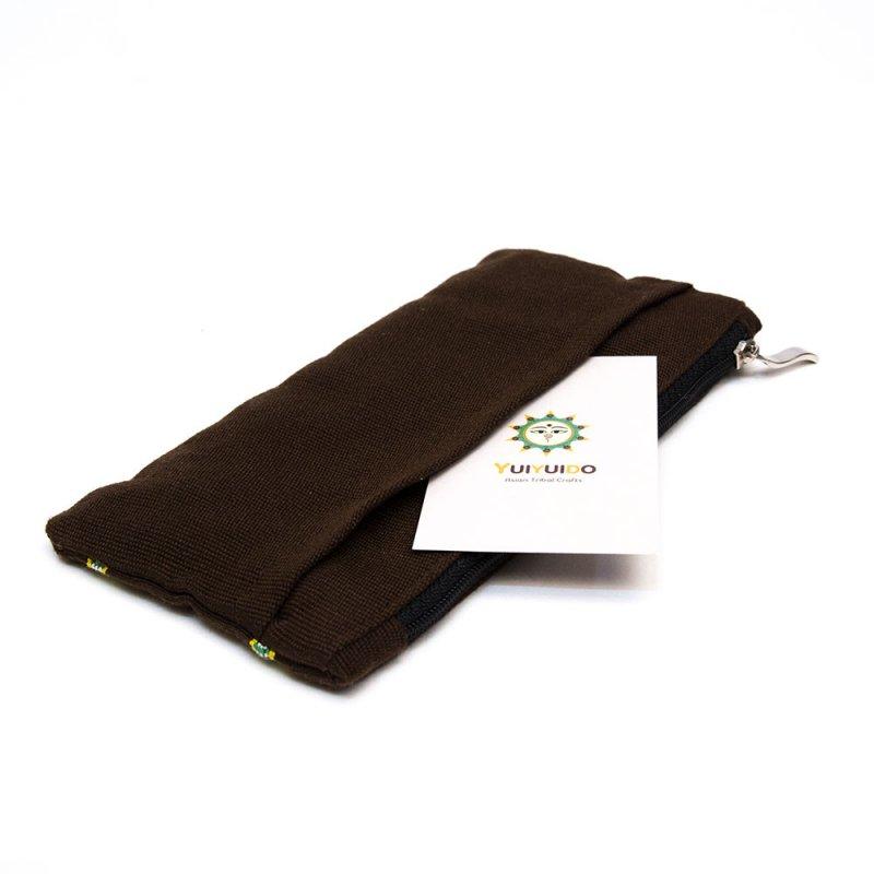 ベトナム カトゥー族 手織りドット柄 ペンケース(A)