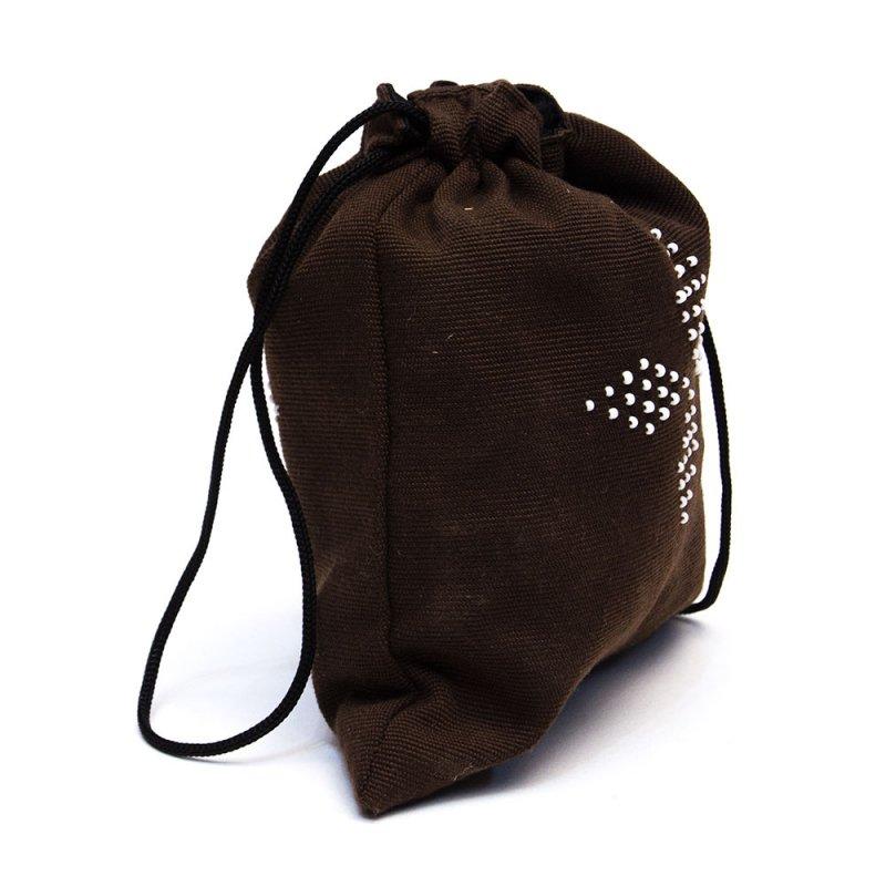 ベトナム カトゥー族 手織りドット柄 巾着ポーチ