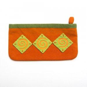 ベトナム 白モン族 手刺繍 ポップカラー 長方形ポーチ(A)