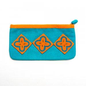 ベトナム 白モン族 手刺繍 ポップカラー 長方形ポーチ(C)