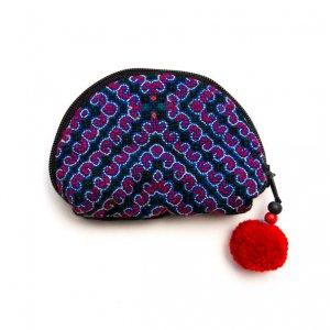 ベトナム 白モン族 手刺繍 ぐるぐる模様 ミニポーチ(A)