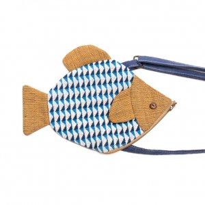 ベトナム ターイ族 手織り お魚さんポシェット