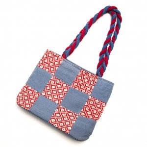 ベトナム ターイ族 手織り 編み紐バッグ(B)