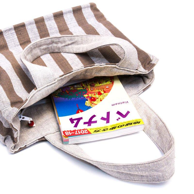 ベトナム ターイ族 手織り ボーダー柄トートバッグ